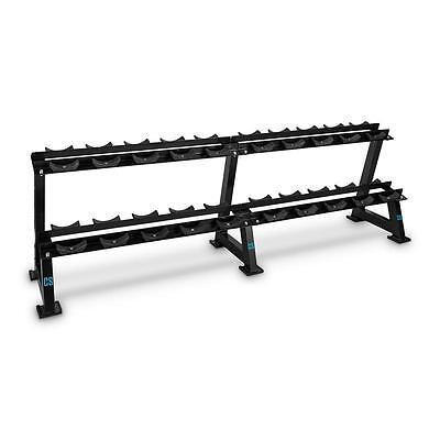 2 Tier Dumbbell Rack Stand Heavy Duty Weight Holder Hex Rubber Storage