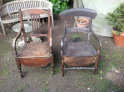 Two Vintage  wood commode chair's