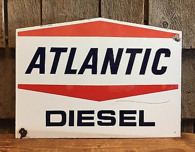 RARE Vintage ATLANTIC DIESEL Gas Service Station Pump Plate Porcelain Sign LOOK!