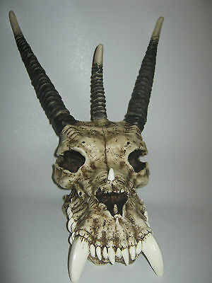 """Life size Hand Painted 12"""" Dragon Resin Skull Figure"""