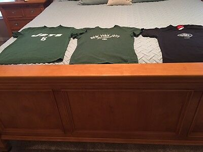 Reebok New York Jets Lot Of 3 Tee Shirts Size S (2) Size M 10/12 Pre-Owned