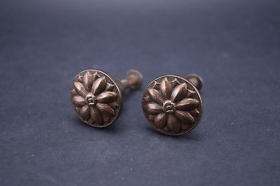 Pair of Antique Cabinet Knobs Arts & Crafts Floral Bronze Plated Fine Detail