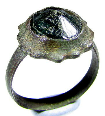 Superb Medieval Bronze Ring With Gem/stone In Bezel- Wearable - 1985