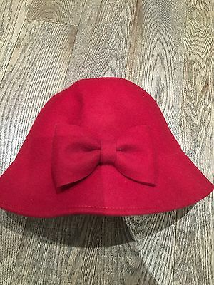 Nwot Gymboree Holiday Memories Christmas Red Wool Cloche Hat Size 8 & Up