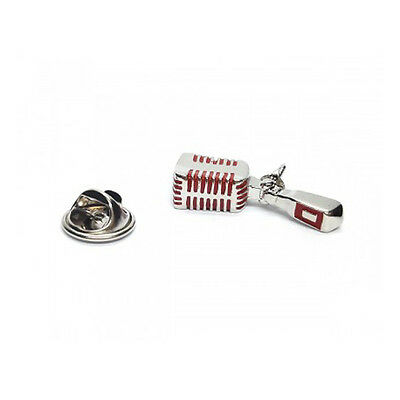 3D Red Detailed Retro Microphone Metal Pin Badge rca 1950s jazz AJTP407