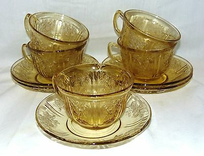5 Federal SHARON/CABBAGE ROSE AMBER *CUPS & SAUCERS*