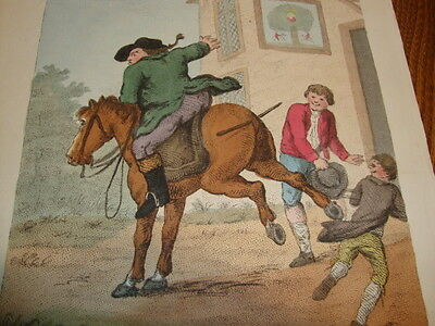 #3 Antique Coloured Horse Riding Engraving Henry Bunbury Tricks Upon Travellers
