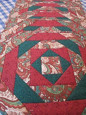 "6 Pieced Padded Quilt Style Place Mats Cranberry Roses Green Paisley 19"" X 15"""