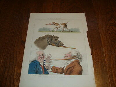 #6 Antique Hand Coloured Horse Cartoon Riding Engraving Henry Bunbury The Puzzle