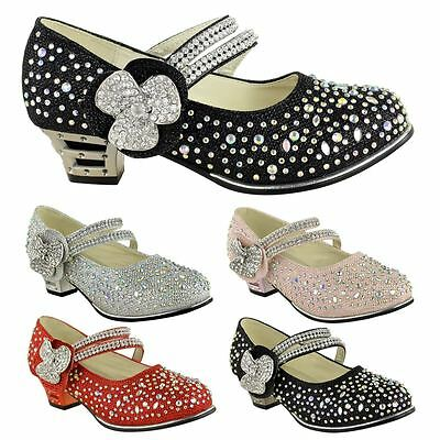 Childrens Girls Kids Low Mid High Heel Diamante Party Shoes Bridal Sandals Size