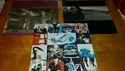 """U2 - 3 pack promo 12 """" x 12 """" frameable  record flats NOS two are 2-sided"""