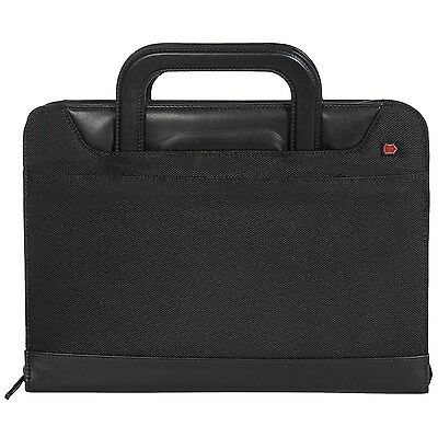 New Victorinox Swiss Army Axis Zippered 3 Ring Binder Padfolio With Handles Blk