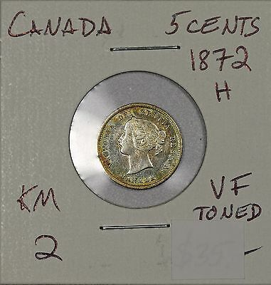 Canada 5 Cents 1872 H. VF toned. KM 2
