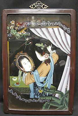 Antique Chinese Portrait Reverse Eglomise Painting on Glass Young Girl Mirror