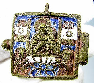 Superb Medieval Bronze Icon Depicting Mother Mary And Baby Jesus- 2008