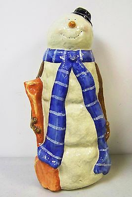 "Large Vintage Paper Mache Snowman Christmas Winter Decoration - 15-1/2"" Tall!"