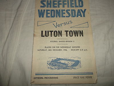 Sheffield Wednesday V Luton Town 28Th December 1946