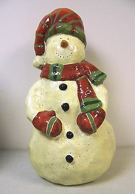"Large Vintage Paper Mache Snowman Christmas Winter Decoration - 16"" Tall!"
