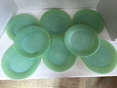 AWESOME Set of 8 Fire-King Jadeite Jane-Ray Lunch Plates