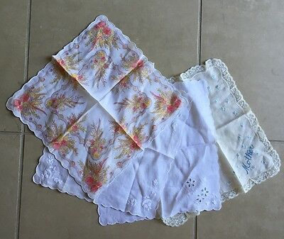 4 Vintage Handkerchiefs Lace, Mother And Floral
