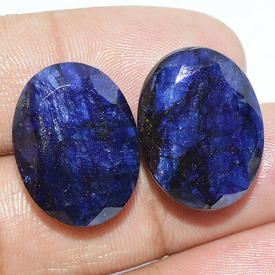 WOW~ 38.80 Ct. FACETED BLUE SAPPHIRE OVAL SHAPE LOOSE 1 PAIR GEMSTONE