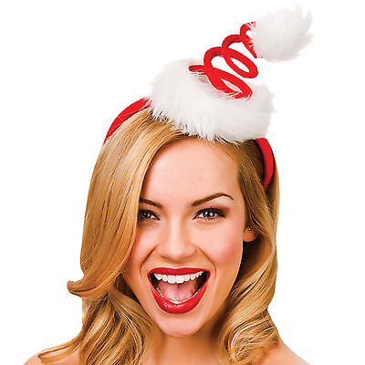 Adults Christmas Red Spiral Santas Hat On Headband
