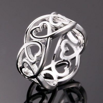 925 Sterling Silver Filled Ring Women's Heart Fashion Jewelry Gift Size 6 7 8 9