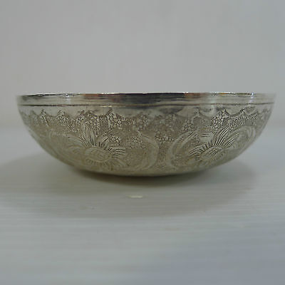 An Old Solid 79 Grams Silver Engraved Islamic Small Bowl With A Silver Coin
