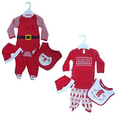 Baby Boys girls My 1st Xmas Costume Outfit bib pants bodysuit Santa Hat 0-3-6 M