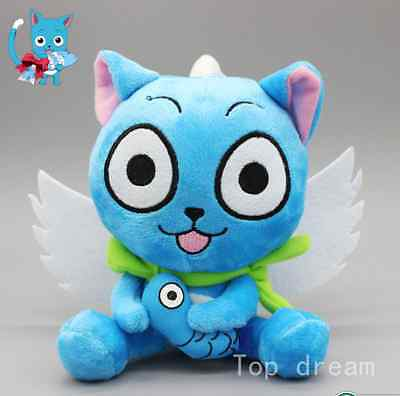 """New Cute Blue Happy Cat Anime Fairy Tail Soft Plush Doll Toy 6.3"""" Teddy Gift  G"""