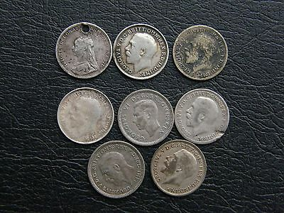Great Britain 8 silver threepence lot