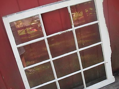 "Antique chic barn white original paint 12 pane window sash, 30x32"" wedding decor"