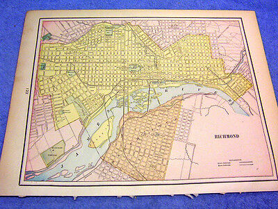Antique Map Of The City Of Richmond & Manchester W/ Railroads, Asylums, College