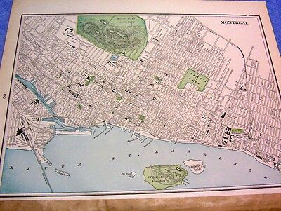 Antique Map Of Montreal Canada W/ W.c. Mcdonald's Tobacco Factory &  Skate Rinks