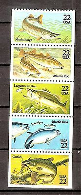 US  Sc# 2205-09a Fish Booklet Pane Mint NH  5 stamps