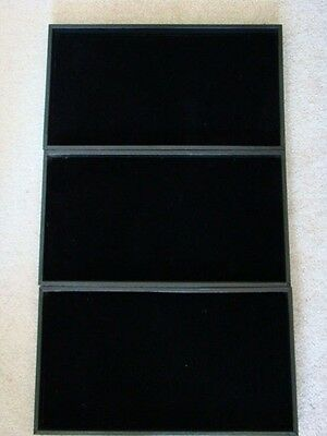"""3 14"""" x 7.5"""" Black Velvet Velour Felt Jewelry Pad & Tray for Jewelry and Coins"""