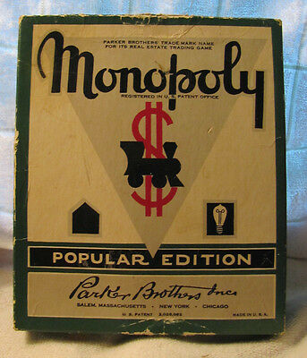 Vintage 50s MONOPOLY game w Box -WOODEN HOUSES, all deeds, money, tokens