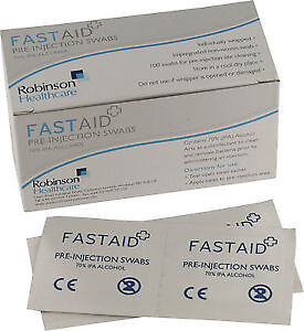 50 x FastAid 70% IPA Alcohol Wipes Pre-Injection Swabs NHS GRADE