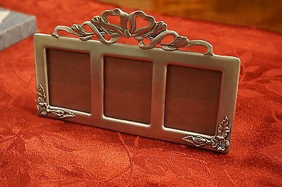 Seagull Pewter vintage picture frame, triple opening - NEW