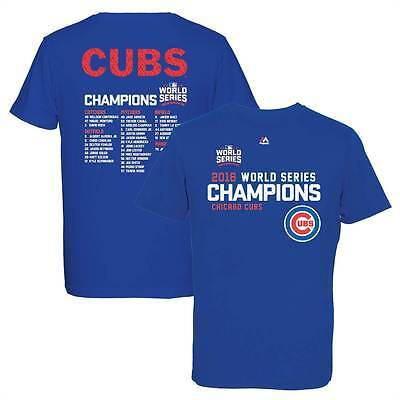 Majestic Chicago Cubs 2016 World Series Champions Roster MLB T-Shirt Blau