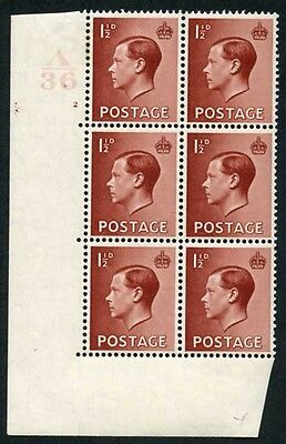 KEVIII 1 1/2d Cylinder Block A36 2 no dot M/M Hair Flaw Retouched Ex Chartwell