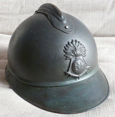 Casque WWI ADRIAN 1915 TROUPES COLONIALE MARINE ORIGINAL French Helmet 1914/1918