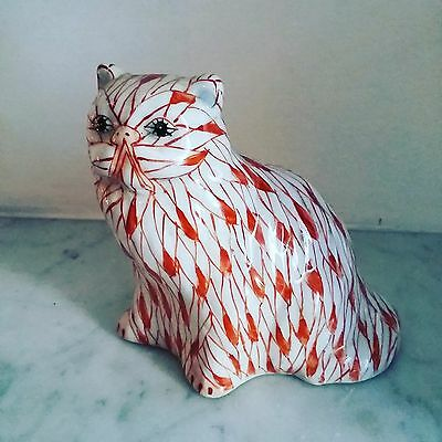 Collectible Porcelain Cat Figurine in red