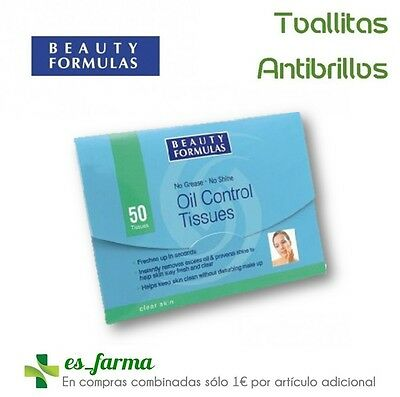 Beauty Formulas Oil Control Tissues Wipes Glitters Matifying 50 Units