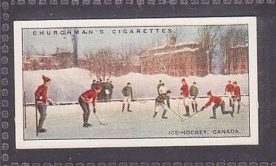 """From 25 """"Sports & Games in Many Lands"""" by Churchman 1929 no.3 Ice Hockey Canada"""