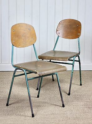 Pair of Vintage Industrial Metal Stacking School Chairs Retro Cafe (#1)