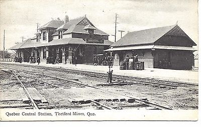 Early Photo Post Card.Railroad Station Thetford Mines Quebec Canada