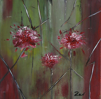ORIGINAL Fine Art Abstract PAINTING by Zev, Orchids, decor, Gift, Modern