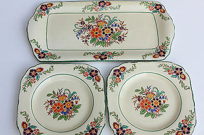 Beautiful Vintage Mintons Hand Painted 2 Side Plates and Serving Tray Flowers