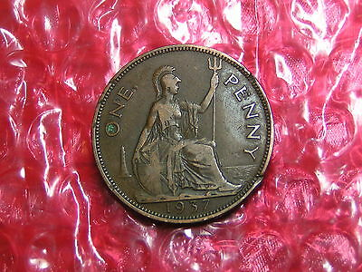 UK, British Coin King George VI, One Penny 1937
